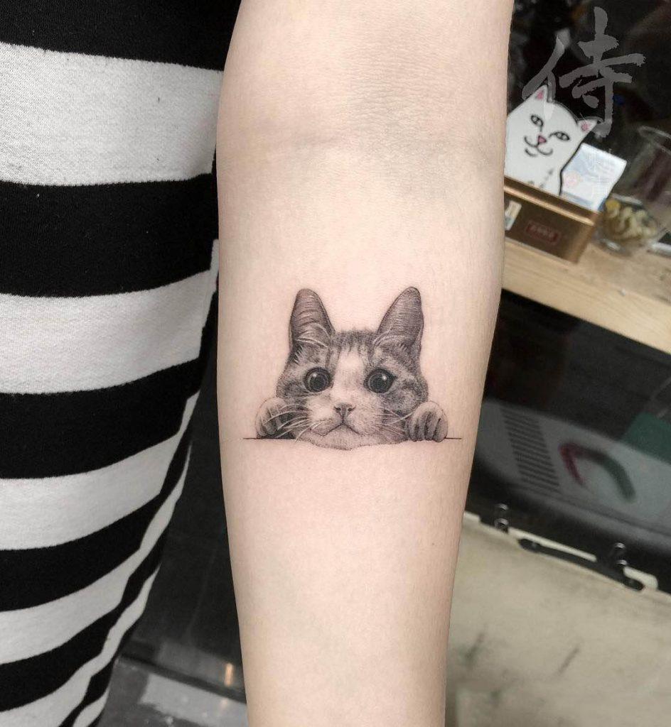 Best cute cat tattoo for cat lovers
