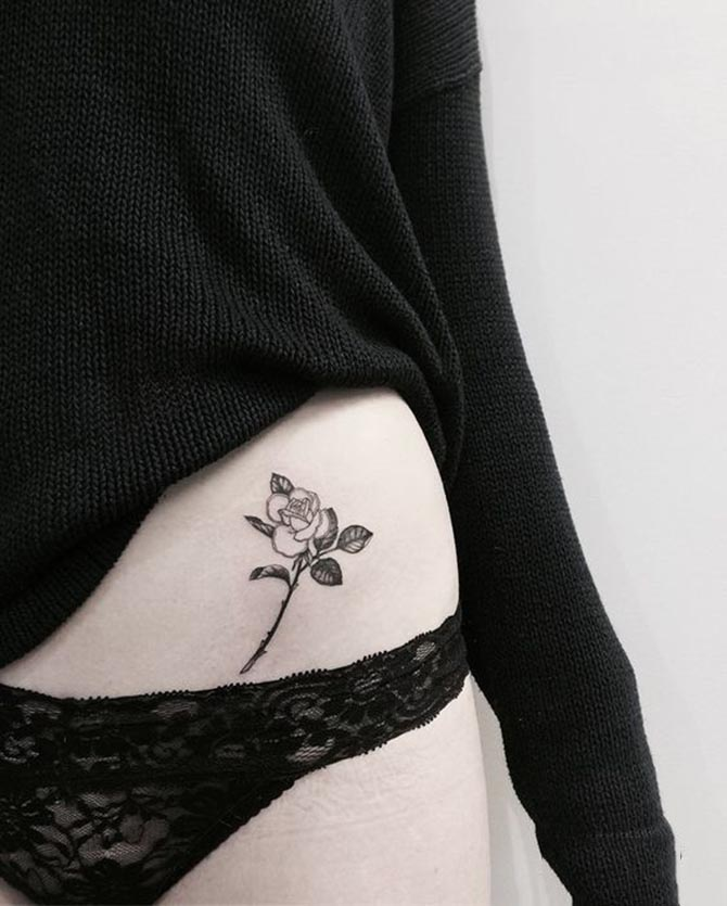 Beautiful waist tattoo for girl
