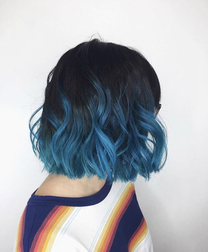black to blue ombre short hair 2