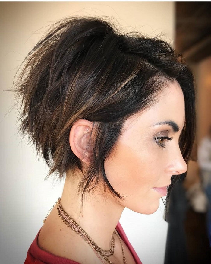 black to brown ombre pixie cut