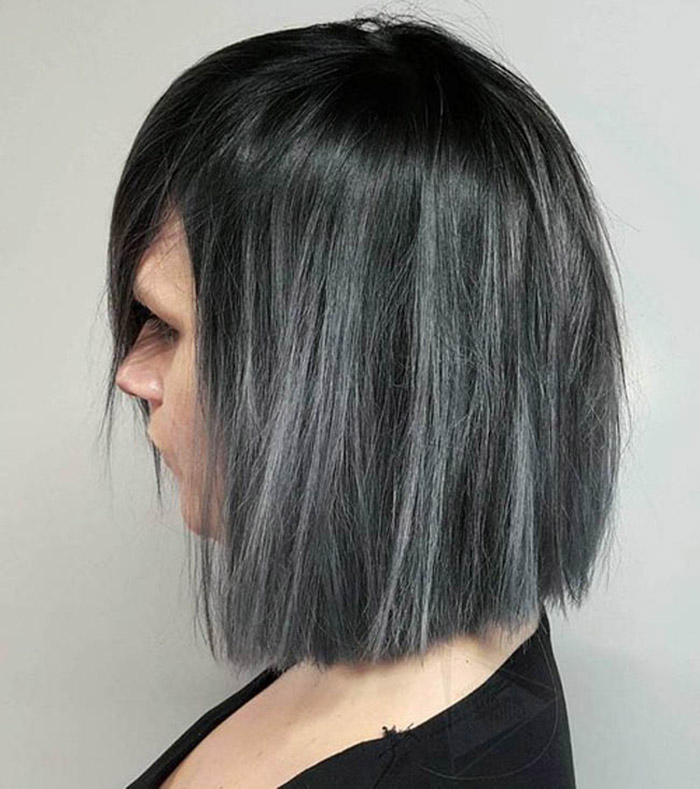black to grey ombre short hair