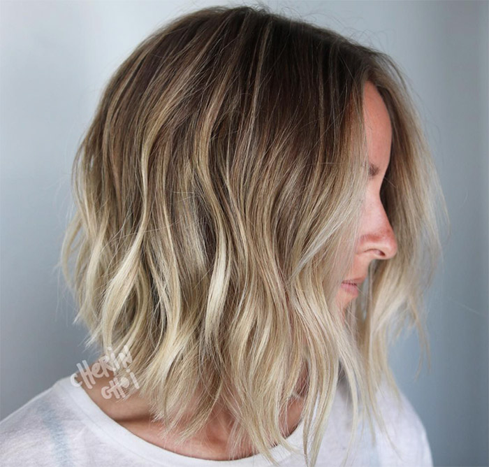 blonde ombre waves short hair