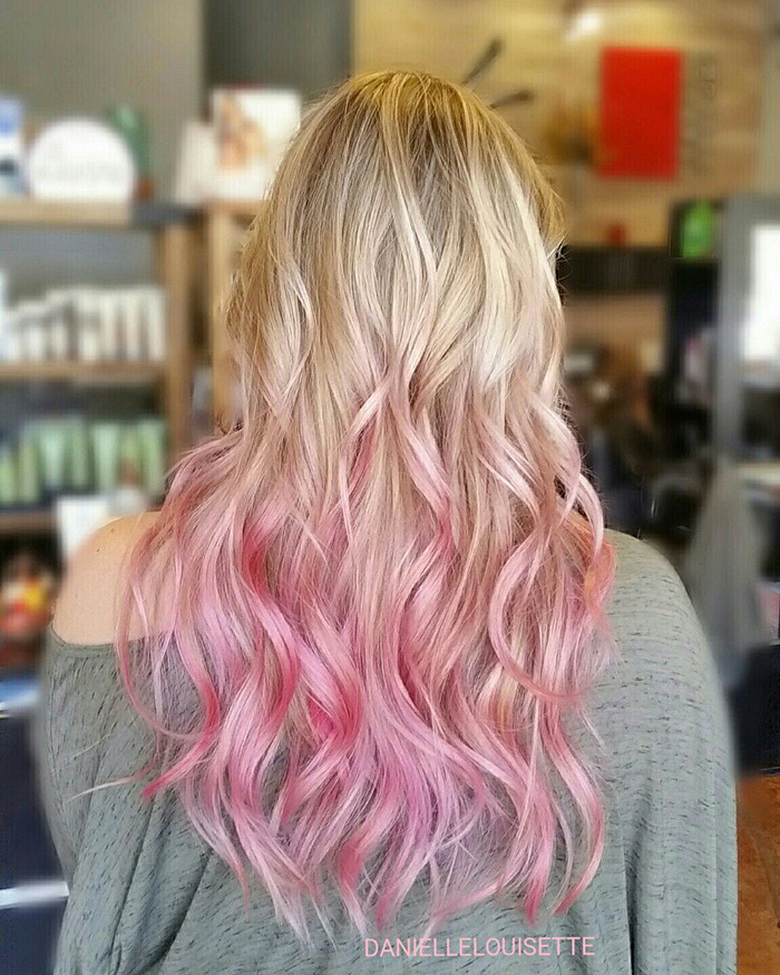 blonde to pink ombre long hair