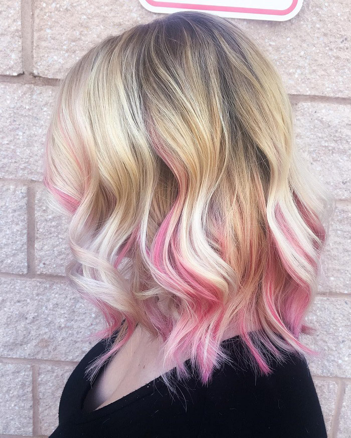 blonde to pink ombre with highlight