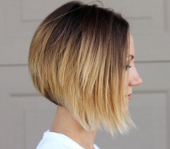 brown to blond ombre bob