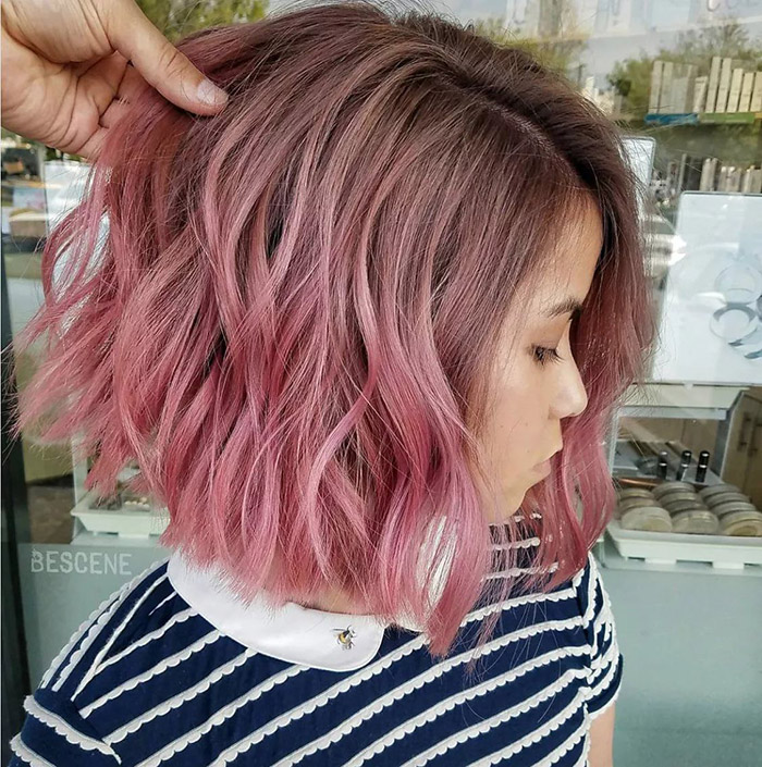 brown to pink ombre short hair