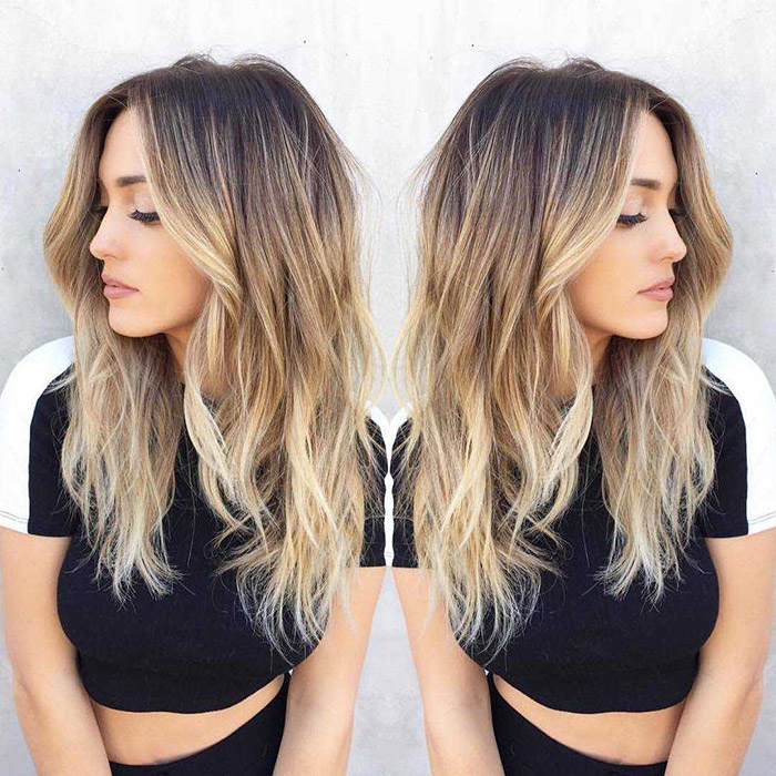dark brown to blonde ombre with layer