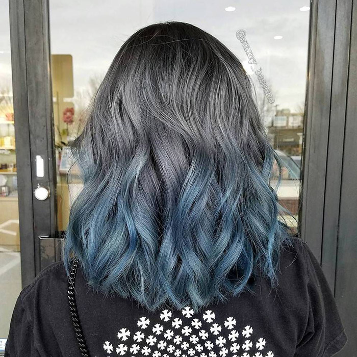 grey to blue ombre short hair