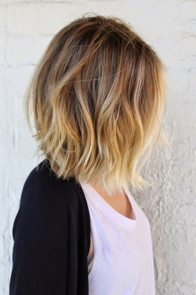 light brown balayage ombre short hair