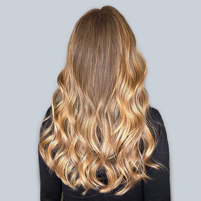light brown to caramel blonde ombre