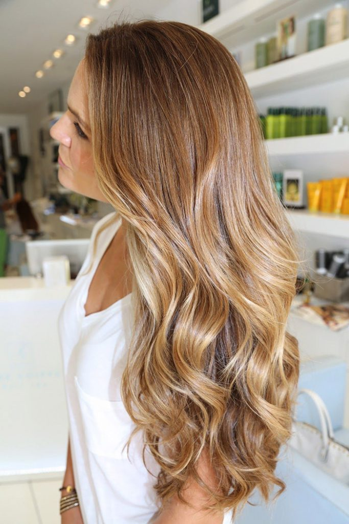 light brown to honey ombre long hair