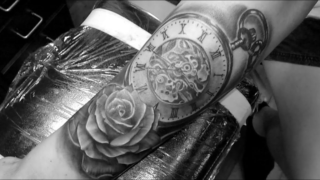 rose and clock tattoo picture 45