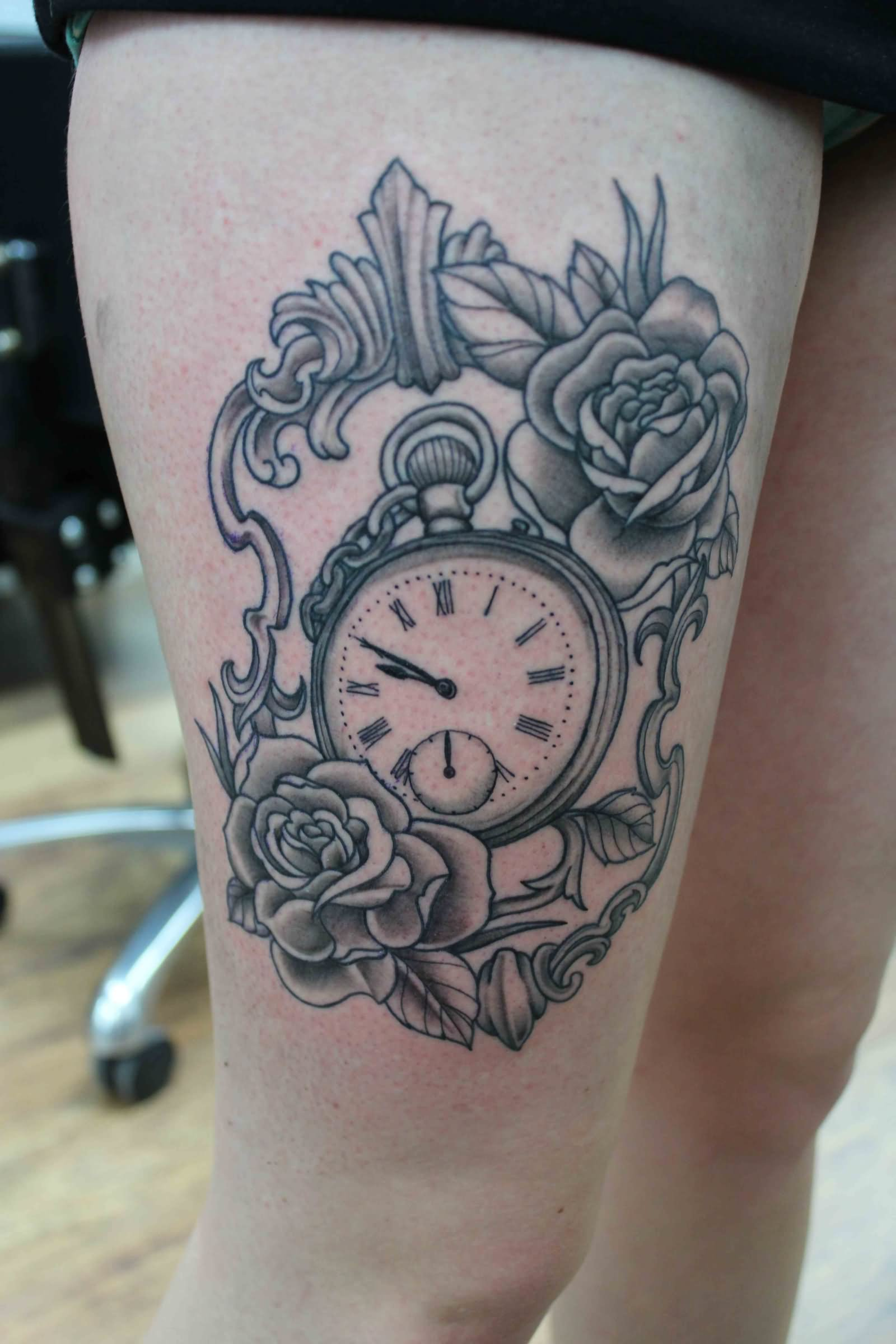Rose and clock tattoo picture