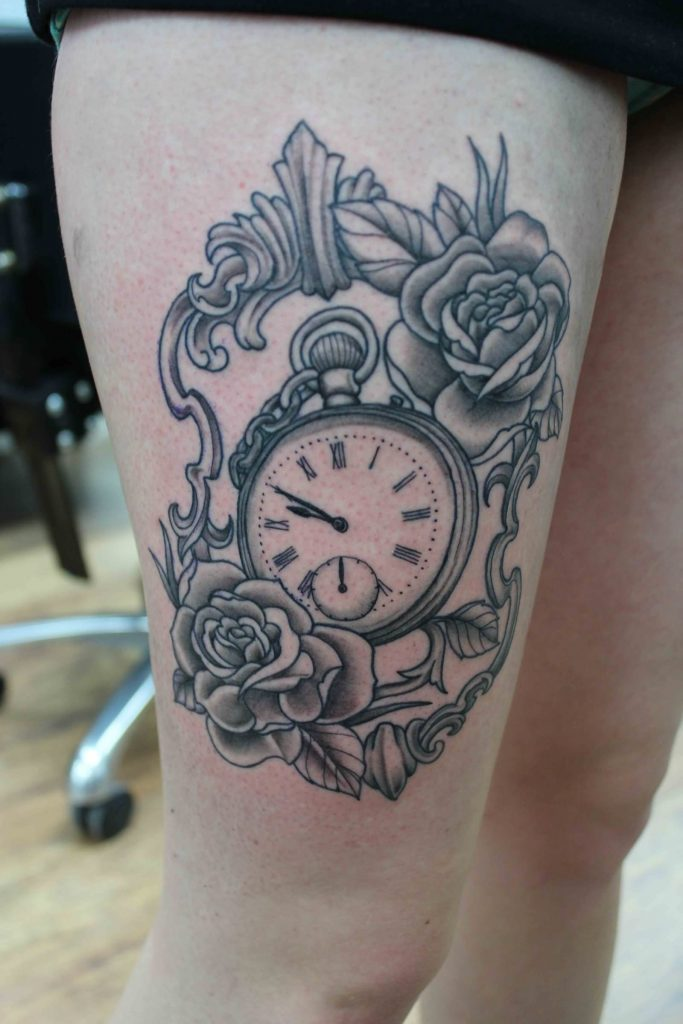 rose and clock tattoo picture 46