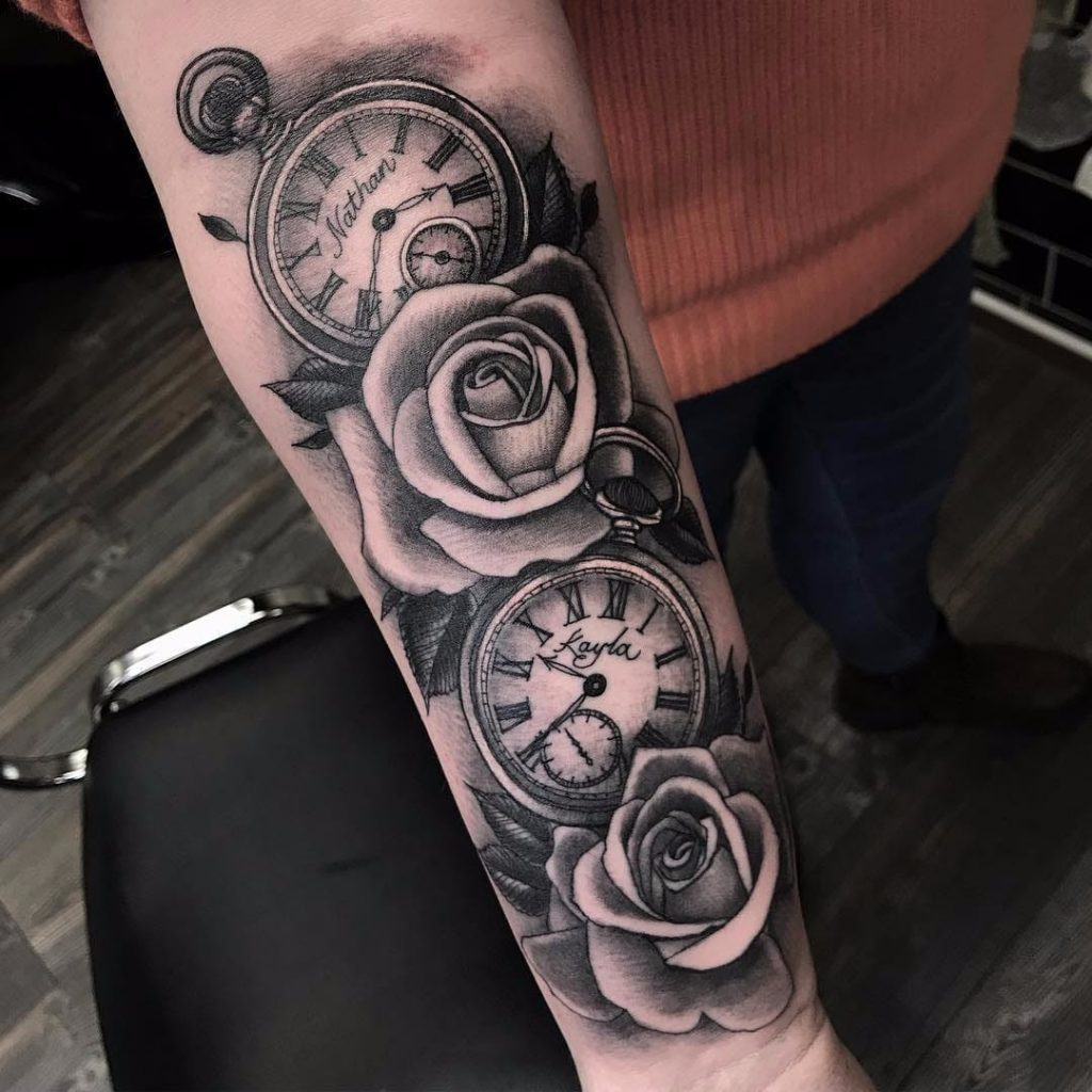 rose and clock tattoo picture 50