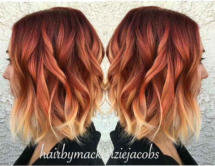 short red hair with blonde ombre