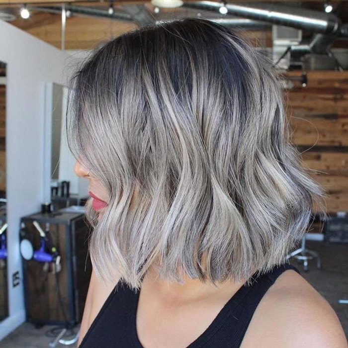 short silver hair with dark roots 1