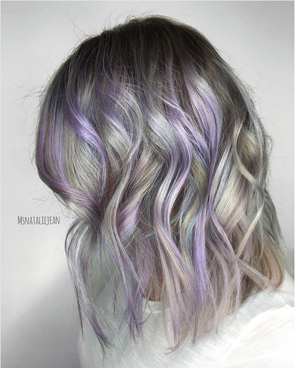 10 blonde hair with light purple highlights