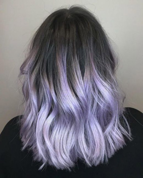 black to light purple ombre hair