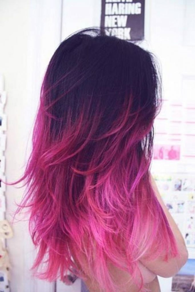 black to pink ombre long hair