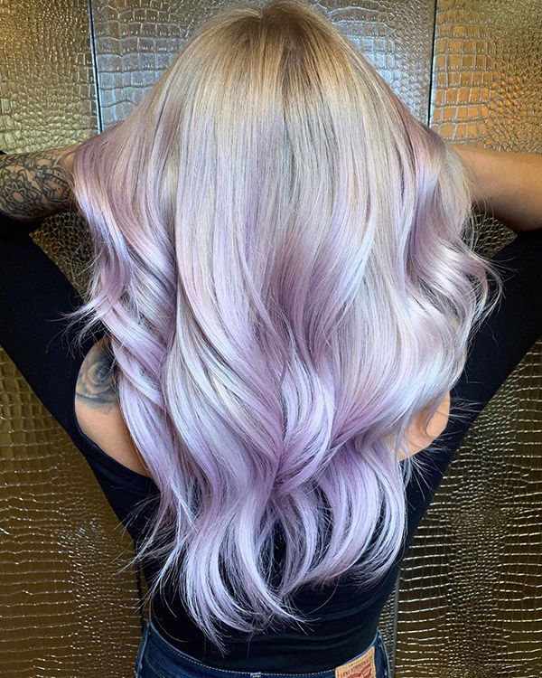 blonde hair with pastel purple highlights
