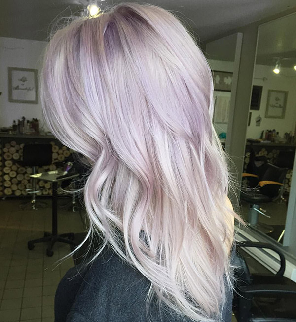 blonde hair with pastel purple