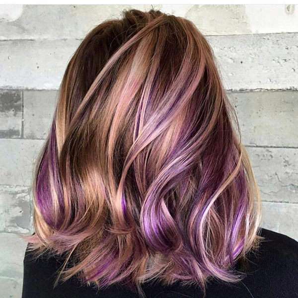 brown blonde hair with violet highlights