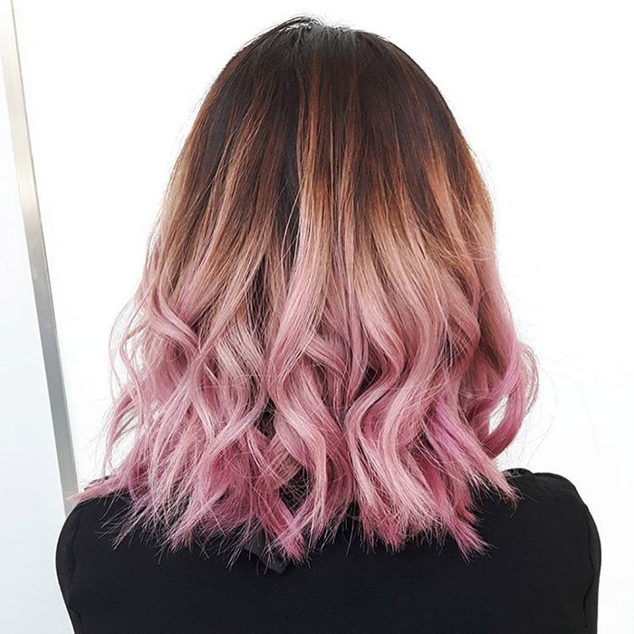 brown pastel pink hair ombre