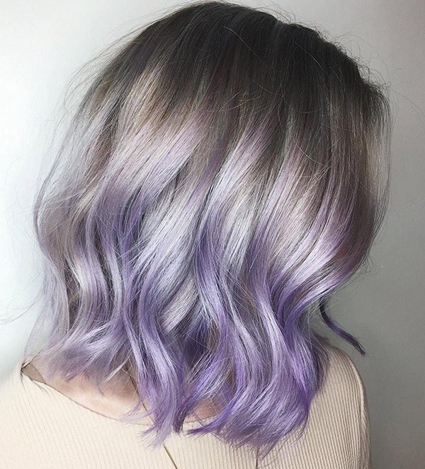 brown silver and pastel violet hair