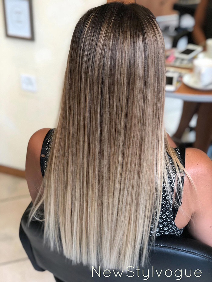 brown to ash blonde ombre straight hair