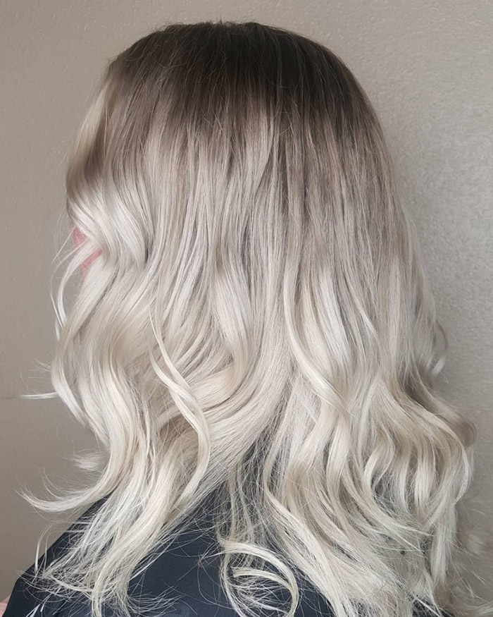 brown to ash smokey blonde ombre