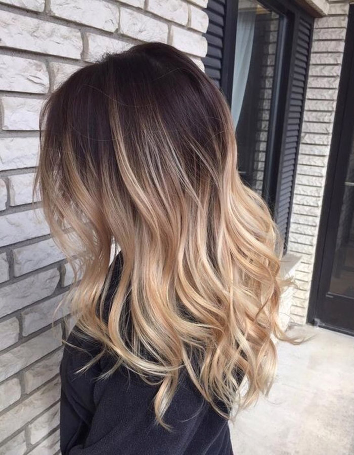 brown to blonde ombre medium hair 1