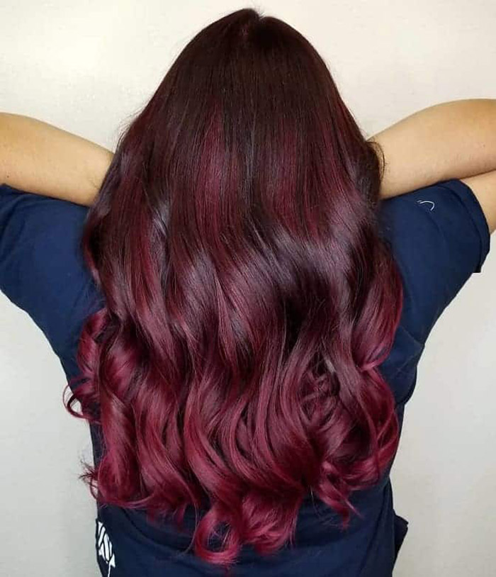 brown to burgundy ombre