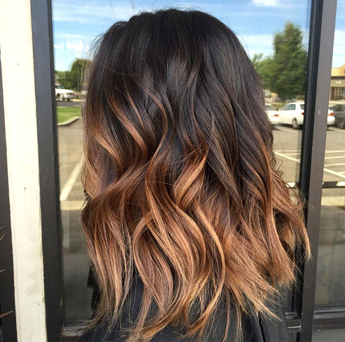 brown to caramel ombre lob
