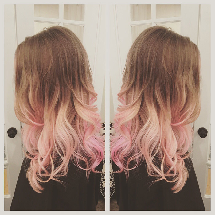 brown to light pink ombre hair
