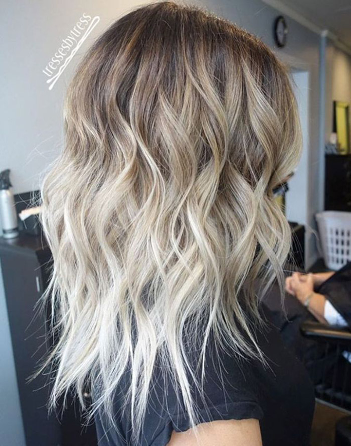 brown to platinum blonde ombre