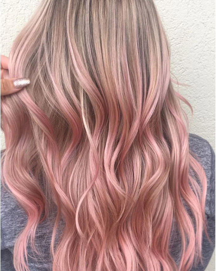 brown to rose pink ombre