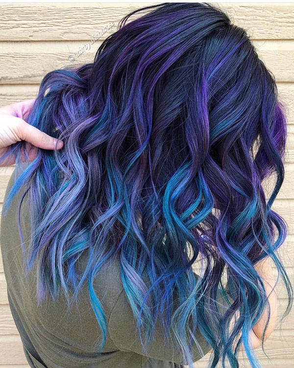 dark grey with blue and purple highlights