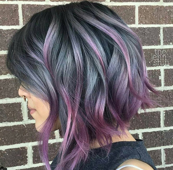 gray hair with purple highlights