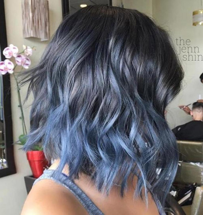 grey to blue ombre short hair 1