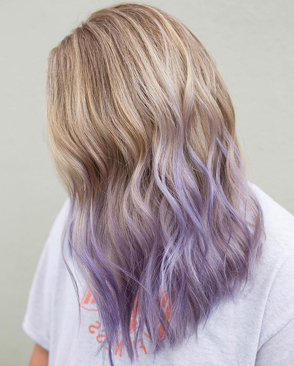 light blonde to pastel purple ombre hair