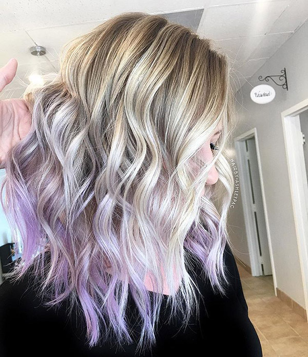 light blonde to pastel purple ombre
