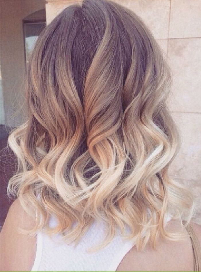 light brown to blonde ombre with curls