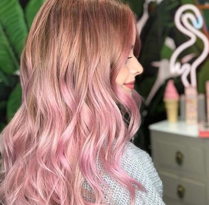 light brown to pastel pink hair ombre 1