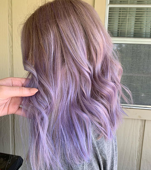 light brown to pastel purple ombre