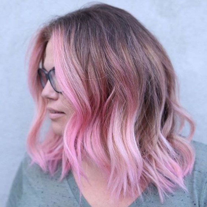 light brown to pink