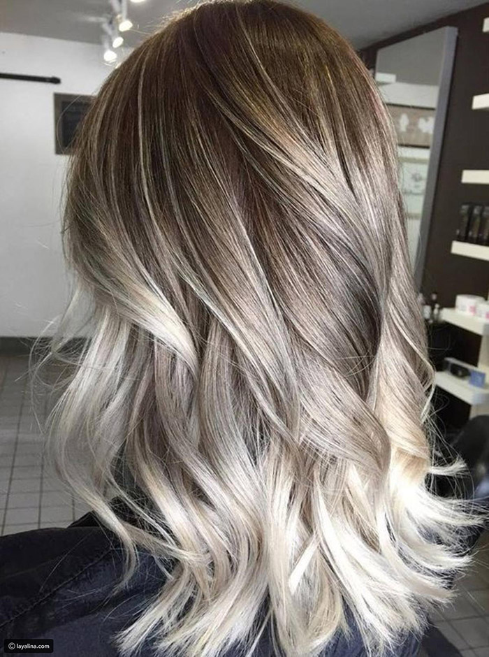 light brown to silver ombre