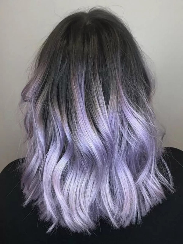 light purple ombre hair with dark roots