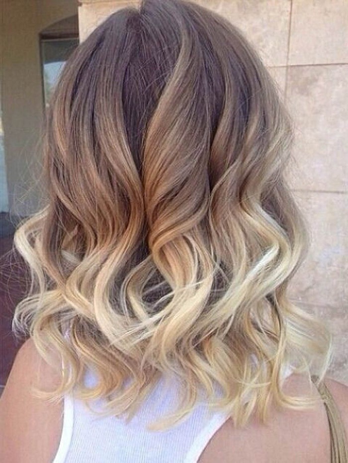 medium hair brown to blonde ombre