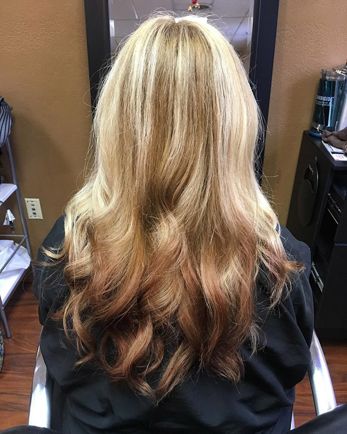 ombre hair blonde to brown